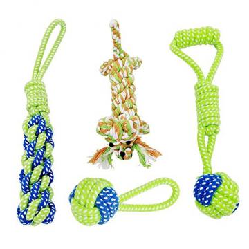 Hundespielzeug, Raffaelo Haustier Hund Seil Spielzeug Baumwolle Seil Hund Tug Krieg Seil Spielzeug Set Dental Zähne Reinigung Chew Spielzeug für Kleine und Mittlere Hunde - Packung mit 4 PCS - 1
