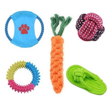 Hundespielzeug Set, ideal für kleine und mittelgroße Hunde, langlebig, sicher und Toxin-frei, Pet Kauen Seil Spielzeug, Hundeseil Spielzeug - Hundespielzeug (10 Artikel) - 5