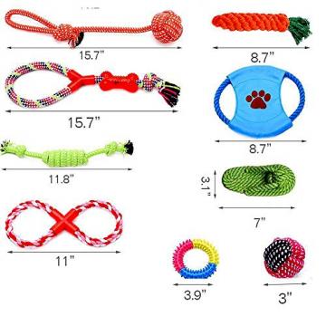 Hundespielzeug Set, ideal für kleine und mittelgroße Hunde, langlebig, sicher und Toxin-frei, Pet Kauen Seil Spielzeug, Hundeseil Spielzeug - Hundespielzeug (10 Artikel) - 7